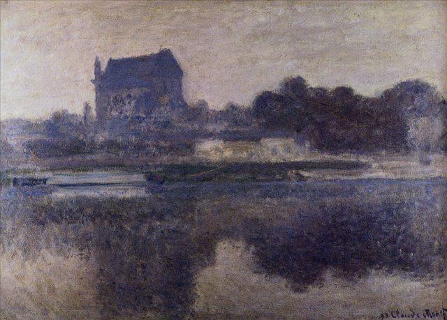 пейзаж Церковь в тумане :: Клод Моне (1840-1926) (Франция ) - Пейзаж ( пейзажная живопись ) фото
