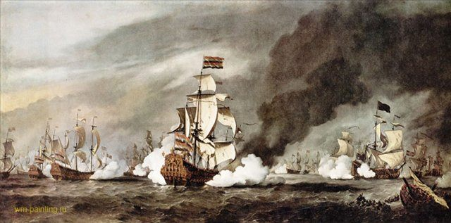 Битва при Текселе :: Виллем ван де Вельде мл. ( Голландия ), описание картины - Море в живописи ( морские пейзажи, seascapes ) фото