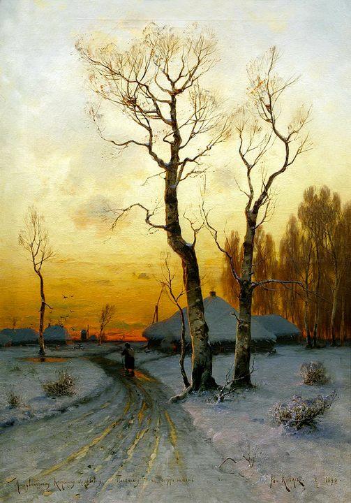 Оттепель :: Клевер Юлий Юльевич, зимний пейзаж, описание картины - Klever Yuliy фото