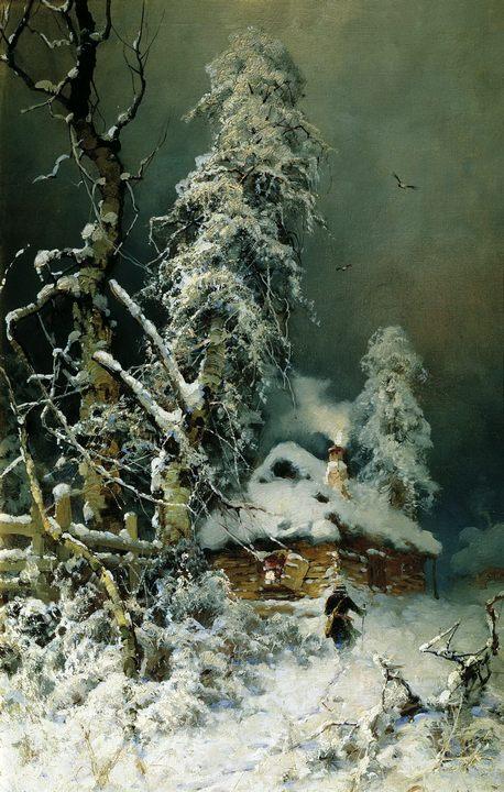 картина Запоздалый путник :: Клевер Юлий Юльевич, зимний пейзаж, описание - Klever Yuliy фото