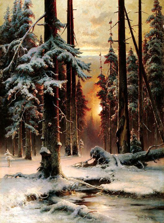 Закат в зимнем лесу (пейзаж) :: Клевер Юлий Юльевич - Клевер Юлий Юльевич фото