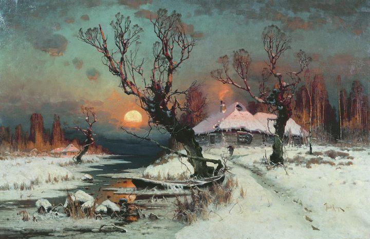 Закат солнца :: Клевер Ю.Ю., описание картины, зимний пейзаж - Клевер Юлий Юльевич фото
