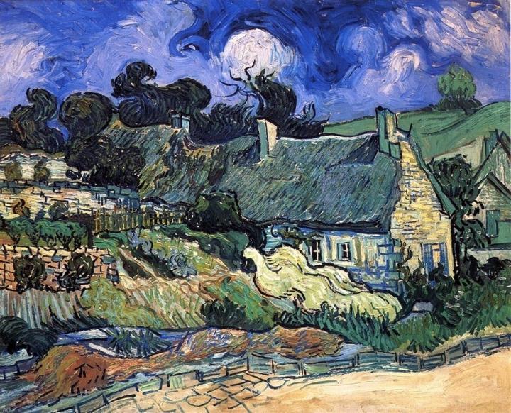 сельский пейзаж Дома с соломенными крышами, Кордевилль :: Ван Гог, описание картины - Van Gogh фото