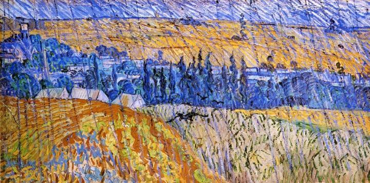 Сельский пейзаж под дождём :: Ван Гог, описание картины - Van Gogh фото