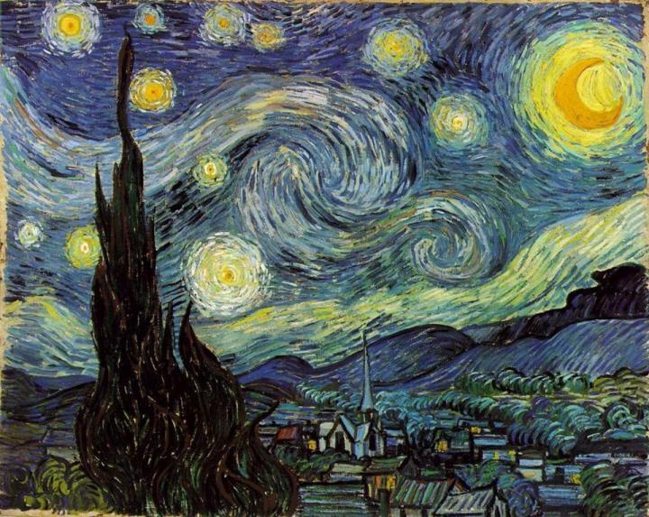 ночной пейзаж Звёздная ночь :: Ван Гог, описание картины - Van Gogh фото