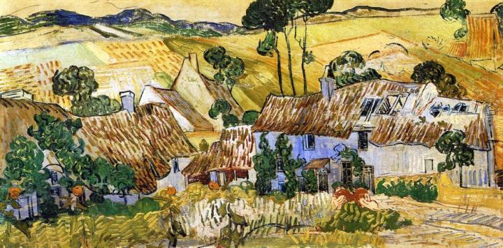 сельский пейзаж Дома с соломенными крышами на холме :: Ван Гог, описание картины - Van Gogh фото