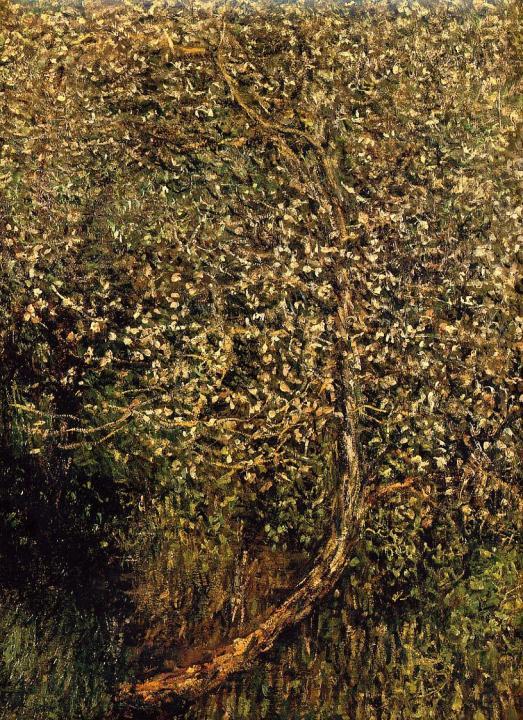 пейзаж Цветущие яблони у воды :: Клод Моне, описание картины - Claude Monet фото