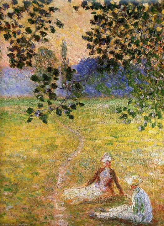 пейзаж Вечер на лугу в Живерни (деталь) :: Клод Моне, описание картины - Claude Monet фото