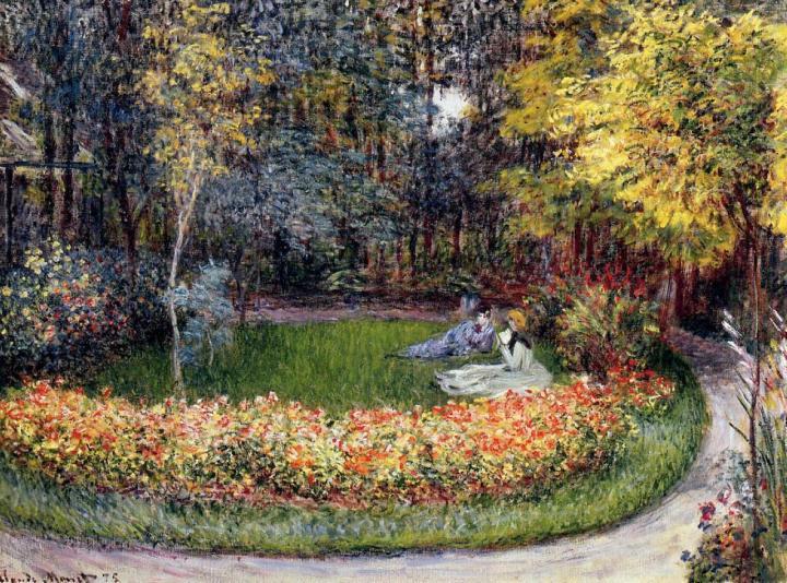 пейзаж В саду :: Клод Моне, описание картины - Claude Monet фото