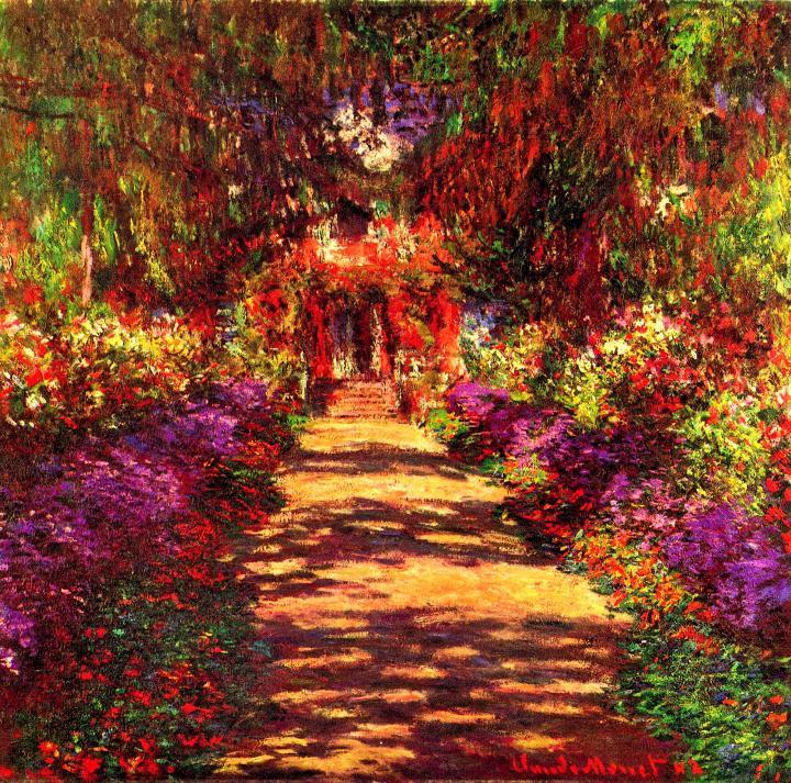 пейзаж Тропа в саду Моне, Живерни :: Клод Моне, описание картины - Claude Monet фото