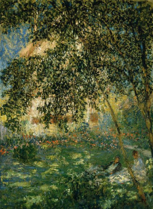 пейзаж Отдых в саду :: Клод Моне, описание картины - Claude Monet фото