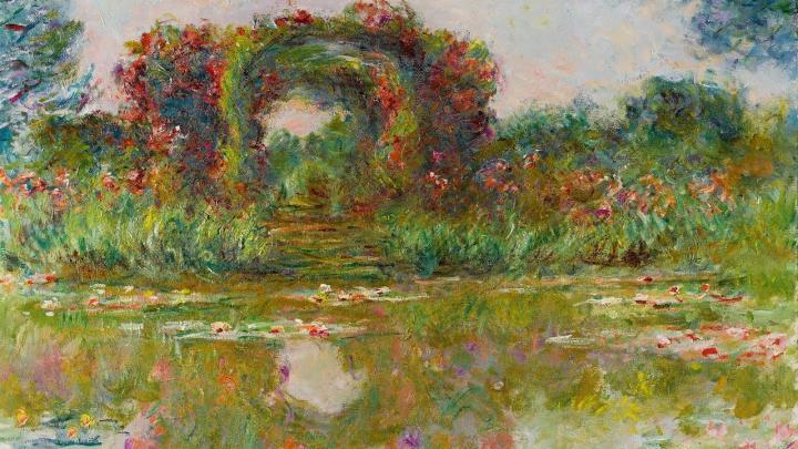 пейзаж Розовая арка в Живерни (Цветочная арка) :: Клод Моне, описание картины - Claude Monet фото
