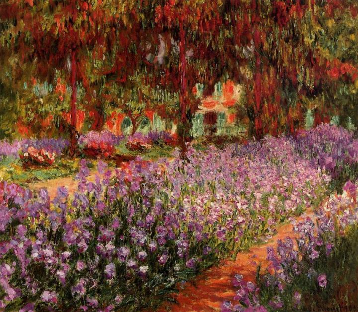 пейзаж Сад (Ирисы):: Клод Моне, описание картины - Claude Monet фото