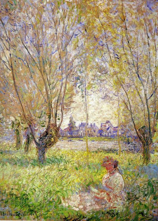 пейзаж Женщина, сидящая под ивой :: Клод Моне, описание картины - Claude Monet фото