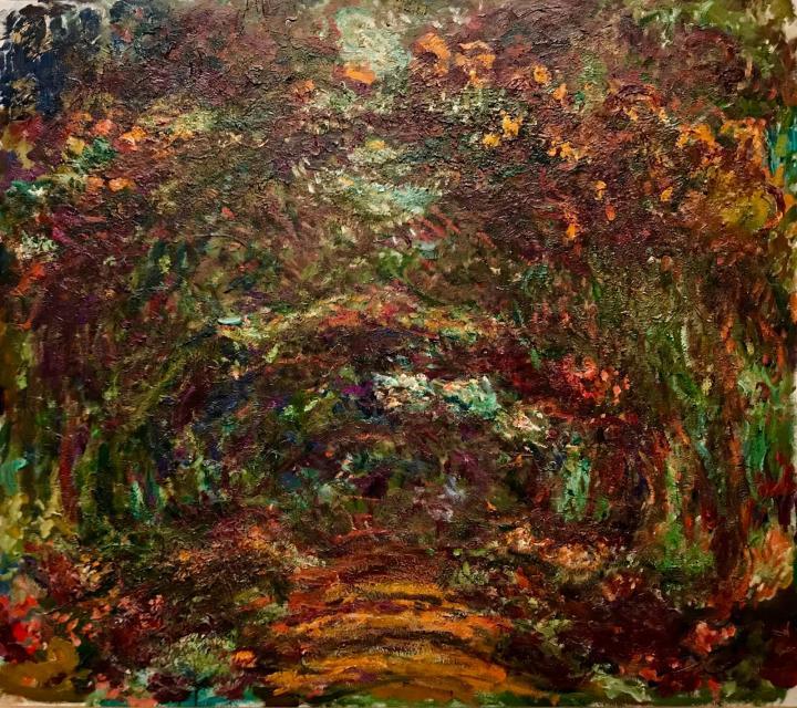 пейзаж Тропа под аркой, увитой розами, Живерни :: Клод Моне, описание картины - Claude Monet фото