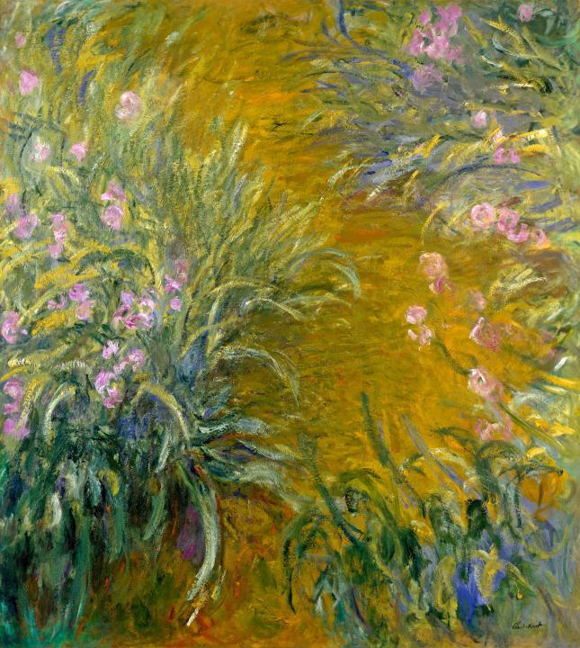 пейзаж Тропа и ирисы :: Клод Моне, описание картины - Claude Monet фото