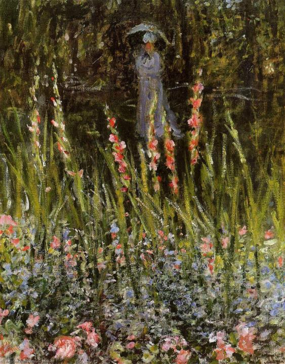 пейзаж Сад с гладиолусами :: Клод Моне, описание картины - Claude Monet фото