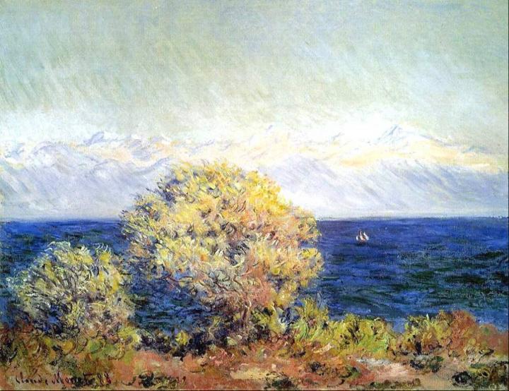 пейзаж с морем Мисталь :: Клод Моне, описание картины - Claude Monet фото