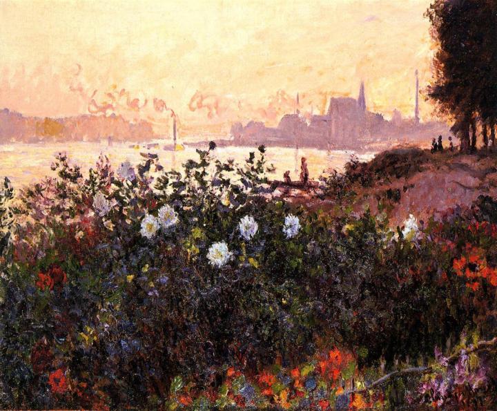 речной пейзаж Аржантёй, цветы на берегу реки :: Клод Моне, описание картины - Claude Monet фото