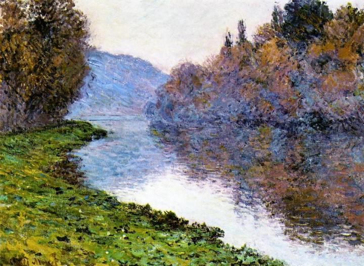 речной пейзаж Побережье Сены, безоблачная погода :: Клод Моне, описание картины - Claude Monet фото