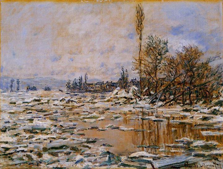 речной пейзаж Таяние льда, пасмурная погода :: Клод Моне, описание картины - Claude Monet фото