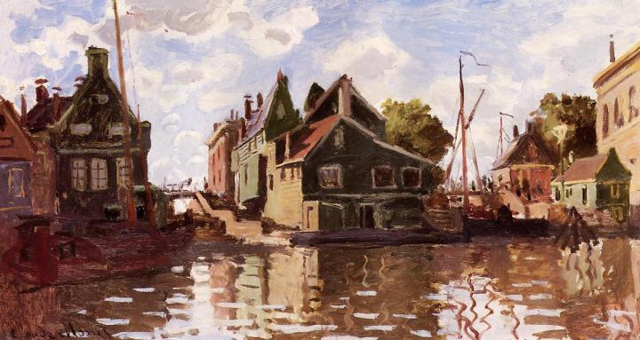 речной пейзаж Канал в городе Зандам :: Клод Моне, описание картины - Claude Monet фото