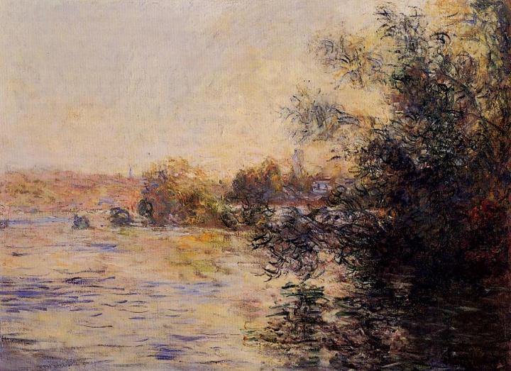 речной пейзаж Сена с наступлением вечера :: Клод Моне, описание картины - Claude Monet фото