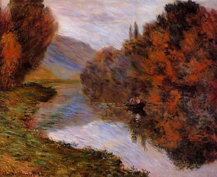 речной пейзаж Шлюпка, плывущая по Сене :: Клод Моне, описание картины - Claude Monet фото