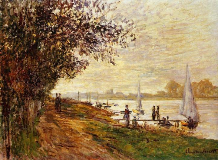 речной пейзаж Берег реки в лучах восходящего солнца :: Клод Моне, описание картины - Claude Monet фото