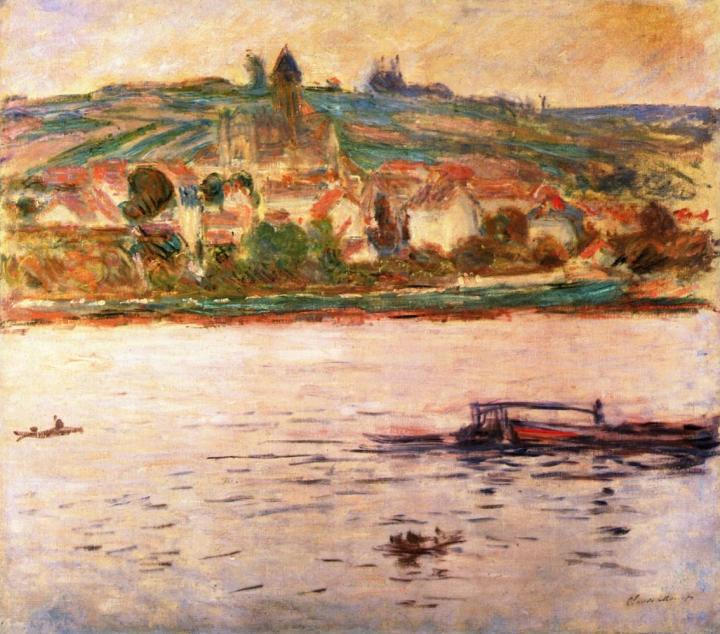речной пейзаж Баржа на Сене в Витёе (Витёй) :: Клод Моне, описание картины - Claude Monet фото
