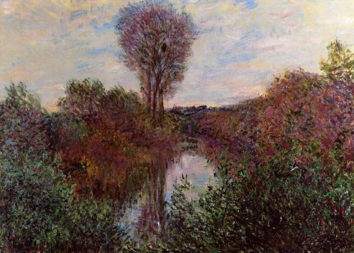 речной пейзаж Малый рукав Сены в Моссо :: Клод Моне, описание картины - Claude Monet фото