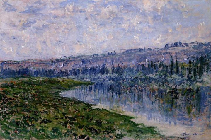 речной пейзаж Сена и холмы Шато :: Клод Моне, описание картины - Claude Monet фото