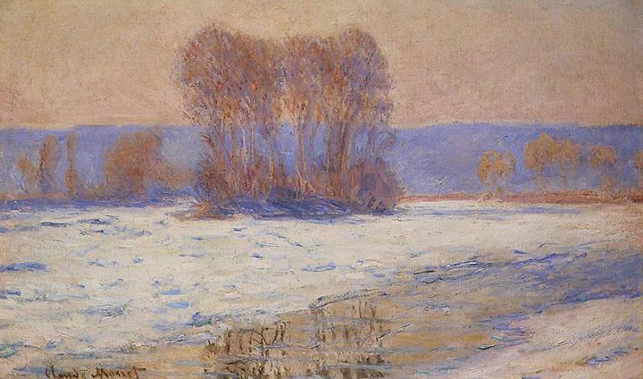 речной пейзаж Сена, Беннекурт зимой :: Клод Моне, описание картины - Claude Monet фото