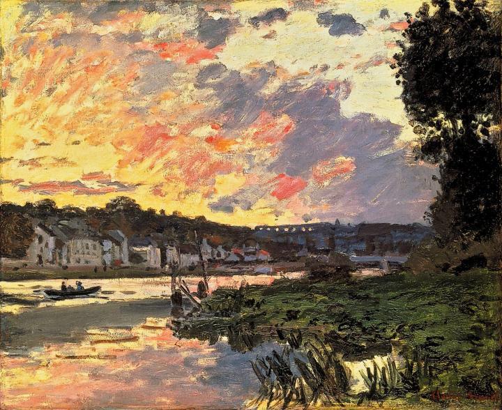речной пейзаж Сена, вечерний Буживаль (Буживаль) :: Клод Моне, описание картины - Claude Monet фото