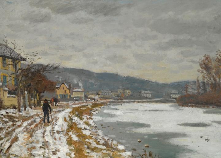 зимний речной пейзаж Сена, Буживаль :: Клод Моне, описание картины - Claude Monet фото