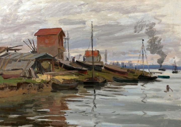 речной пейзаж Сена, Пти-Женвилье :: Клод Моне, описание картины - Claude Monet фото