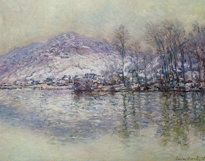 речной пейзаж Сена, заснеженный Порт Вилле:: Клод Моне, описание картины - Claude Monet фото