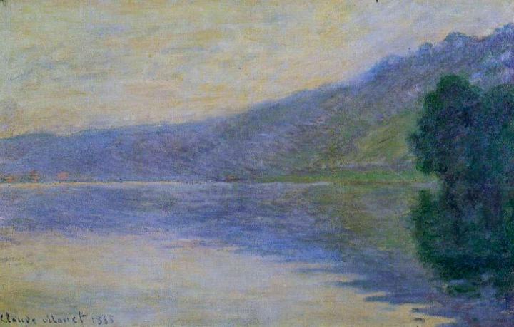 речной пейзаж Сена, Порт Вилле, гармония в голубых тонах :: Клод Моне, описание картины - Claude Monet фото