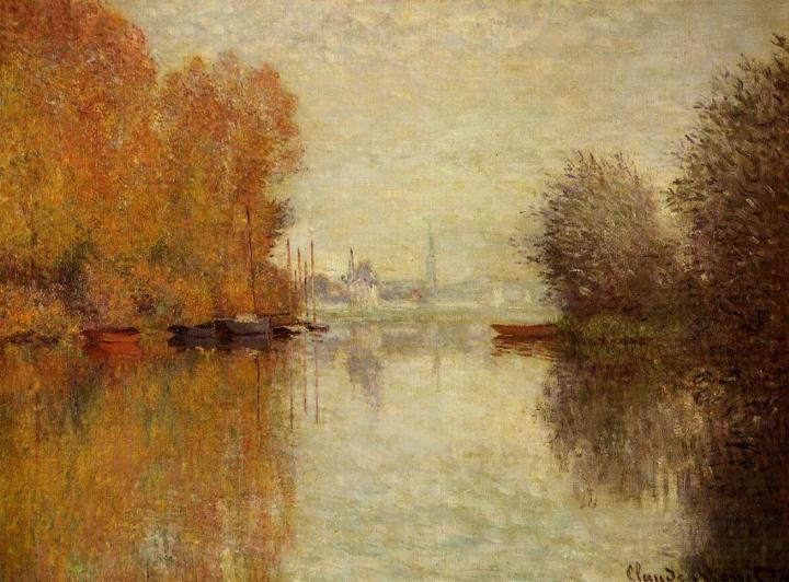 """речной пейзаж - парусники и лодки """"Осенний Аржентёй и Сена"""" :: Клод Моне, описание картины - Claude Monet фото"""