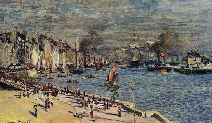"""портовый пейзаж """"Вид на Старую Гавань в Гавре"""" :: Клод Моне, описание картины - Claude Monet фото"""