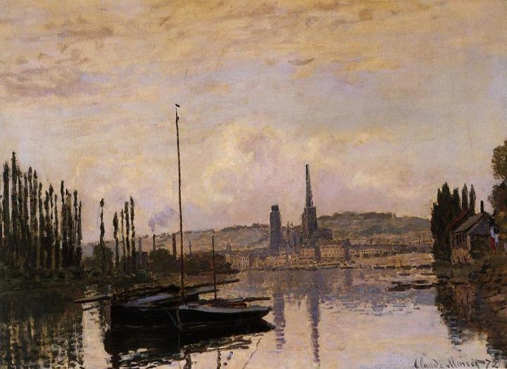 """пейзаж c яхтой """"Виды Руана"""" :: Клод Моне, описание картины - Claude Monet фото"""