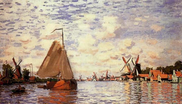 пейзаж - парусники и лодки Вид на Зандам :: Клод Моне, описание картины - Claude Monet фото