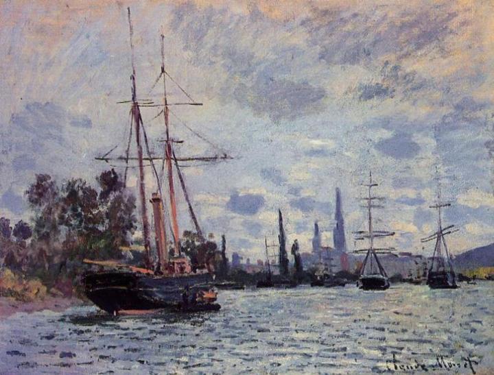 портовый пейзаж - корабли и Сена близ Руана :: Клод Моне, описание картины - Claude Monet фото