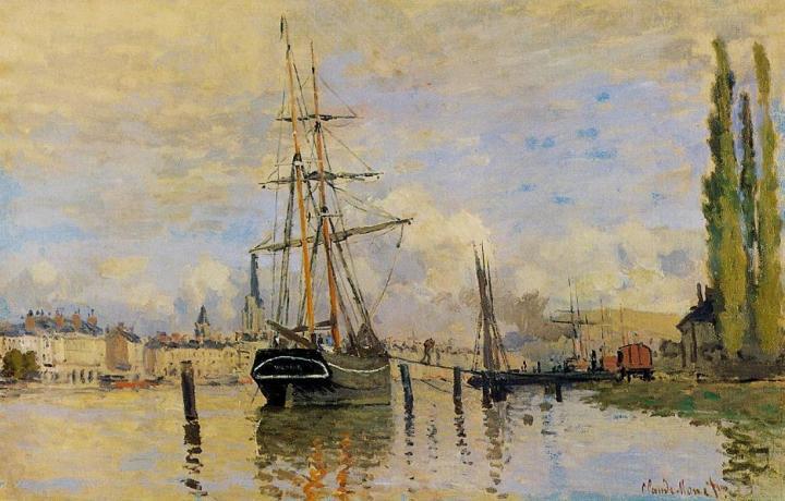 пейзажи - парусники и лодки < Сена близ Руана >:: Клод Моне, описание картины - Claude Monet фото