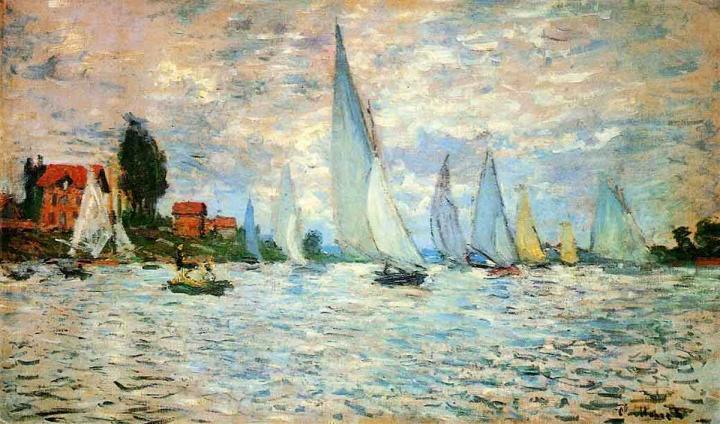 пейзажи - парусники и лодки  Регата в Аржантёе:: Клод Моне, описание картины - Claude Monet фото