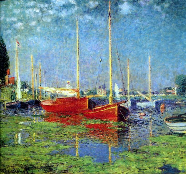 пейзаж Прогулочные лодки в Аржантёй :: Клод Моне, описание картины - Claude Monet фото
