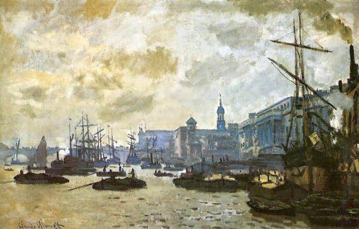 пейзаж Лондон, порт :: Клод Моне, описание картины - Claude Monet фото