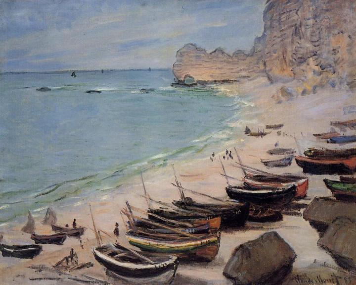 пейзаж Лодки у пляжа :: Клод Моне, описание картины - Claude Monet фото