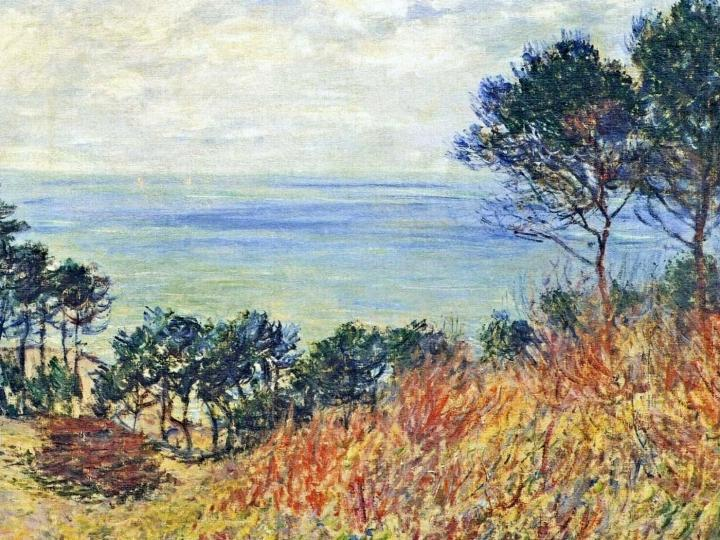 пейзаж Морское побережье, Варенживилль :: Клод Моне, описание картины - Claude Monet фото