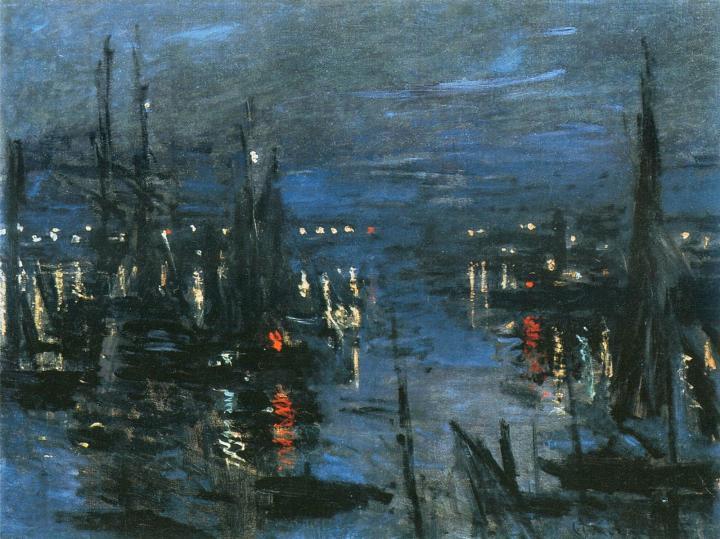 пейзаж Порт Гавр ночью :: Клод Моне, описание картины - Море в живописи ( морские пейзажи, seascapes ) фото